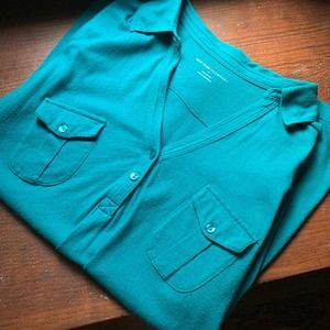 NY&Co Teal V-Neck Button Down Tee